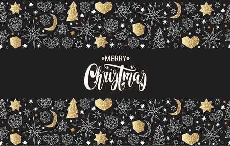 balck: Merry Christmas and Happy New Year luxury gold seamless pattern on the balck background with stars, balls, noel, heart and holiday elements in trendy geometric style. Greeting card, invitation, flyer.