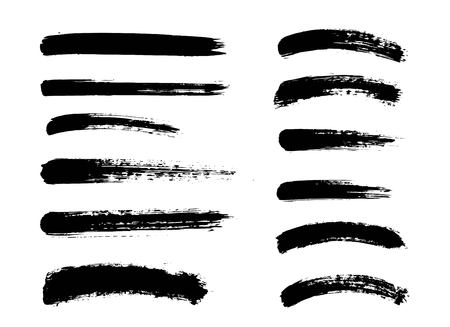 Set of black paint, ink brush strokes. Dirty artistic design elements