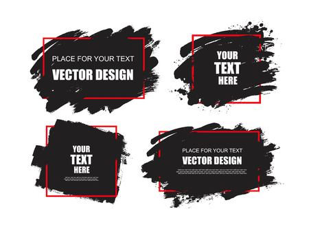 stain: Dirty artistic design elements, boxes, frames for text.Set of black paint, ink brush strokes, brushes, lines.