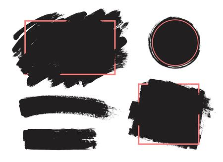 Dirty artistic design elements, boxes, frames for text.Set of black paint, ink brush strokes, brushes, lines.