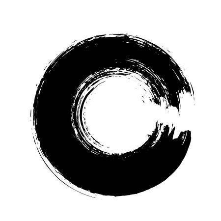 手には、グランジの円図形が描画されます。 写真素材