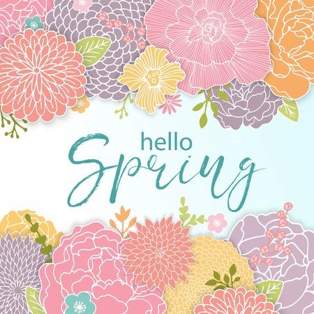 Disegno della priorità bassa della sorgente con i fiori colorati disegnati a mano. Sfondo luminoso per la stagione stagionale di primavera.