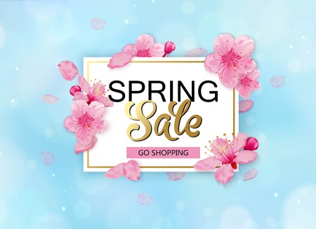 Spring sale with flowers. Season discount banner design with cherry blossoms and petals.