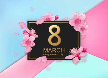 cerezos en flor: 8 de marzo de diseño moderno con flores. Happy Day Mujeres tarjeta de felicitación elegante con flores de cerezo y pétalos.