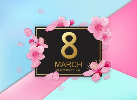 8 march modern design with flowers. Happy womens day stylish greeting card with cherry blossoms and petals.