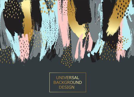 Creatieve universele kaart, achtergrond met handgetekende texturen. Vector kunst frame voor tekst met goud en zwart.
