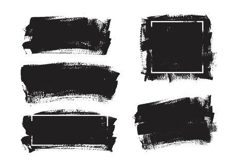 Set van universele grunge zwarte verf achtergrond met frame. Vuile artistieke ontwerpelementen, dozen, frames voor tekst. Stockfoto