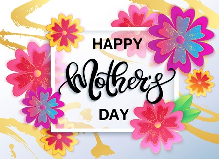 vector banner: Happy Mothers day vector banner with flowers.