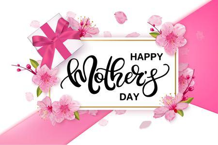 桜の花で幸せな母の日ベクター バナー。  イラスト・ベクター素材