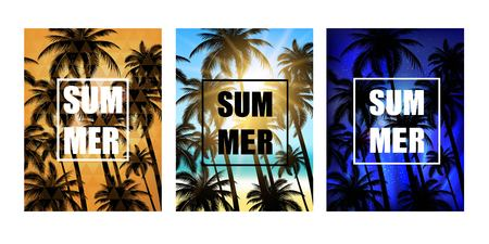 caribbean beach: Set of summer tropical backgrounds with palms, sky and beach. Vector design for T -shirt.