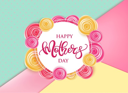 universal love: Happy Mothers Day vector hand written poster with stylish flowers. Vectores