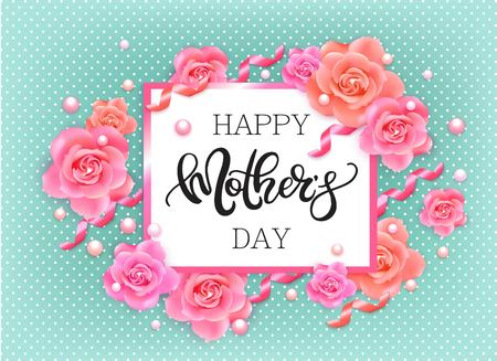 pink banner: Happy mothers day banner with pink roses Illustration