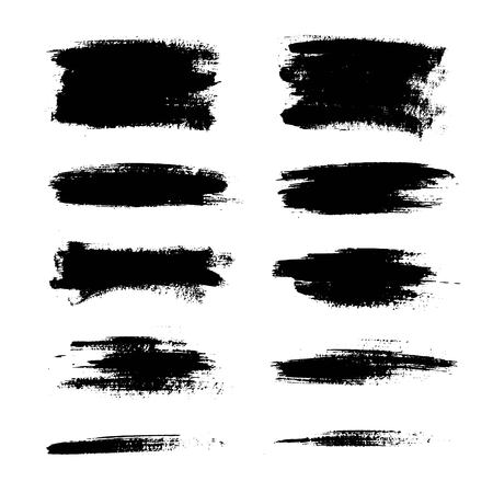 Set of black paint, ink brush strokes, lines.