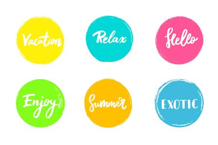 advertising signs: Set of colorful universal use circles, signs, badges, stickers, backgrounds for advertising, text, business, promotion. Summer hand written lettering. Illustration