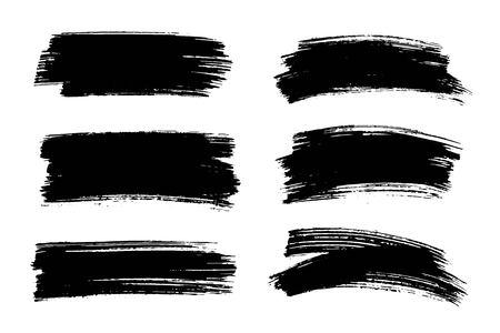 Vector zwarte verf, inktpenseelslag, textuur. Stock Illustratie