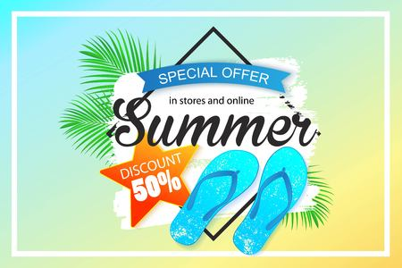 Diseño de fondo de venta de verano para banner Ilustración de vector