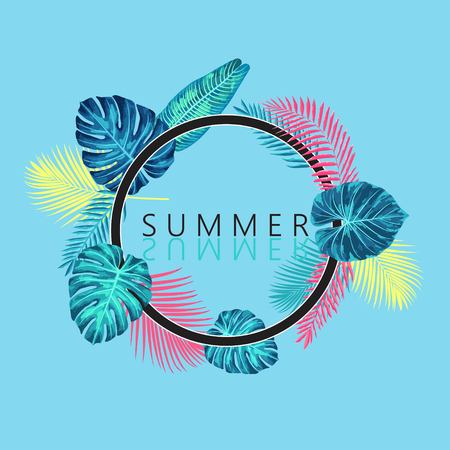 Summer exotic and tropic background design. Composition with palm leaves.