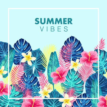 Summer exotic and tropic background design. Composition with palm leaves. Vector universal background with place for text. Standard-Bild