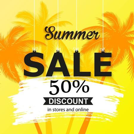 Bandera de venta de verano con hojas de palma. Papel pintado de color brillante, folleto, folleto o descuento de cupones.