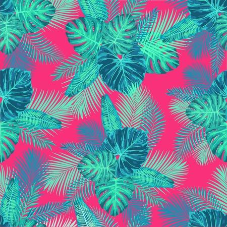 シームレスな熱帯のエキゾチックなジャングル ヤシの葉パターン。無限の植物テクスチャです。