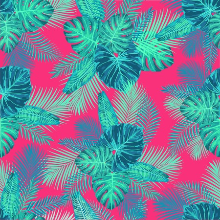 Senza soluzione di continuità Tropical Exotic Jungle Palm Leaves Pattern. Struttura botanica infinita. Archivio Fotografico - 80178395