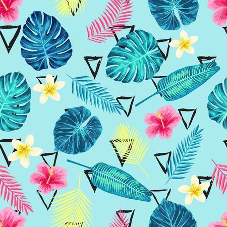 Naadloze Tropische Exotische Jungle Palm Bladeren Patroon. Eindeloze botanische textuur.