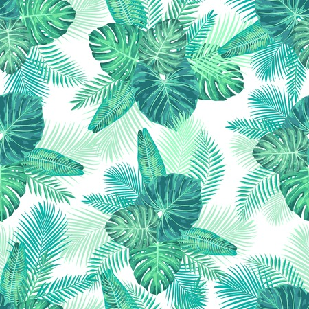 Seamless Tropical Exotic Jungle Palm Leaves Pattern. Endless botanical texture.