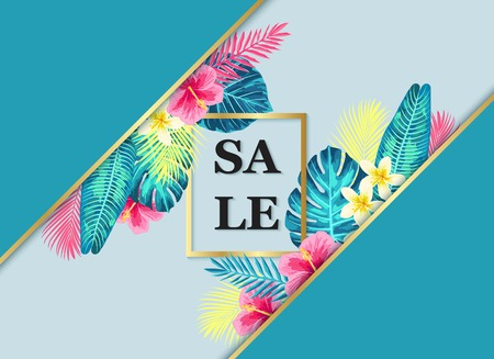 Summer sale exotic and tropic background design. Composition with palm leaves and flowers. Vector universal background with place for text.