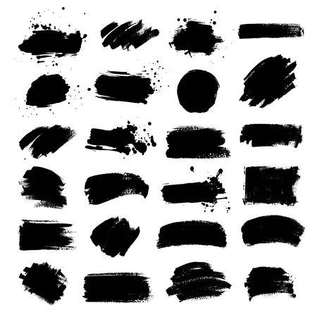 黒の塗料、インクのブラシ ストローク、ブラシ、ライン、サークルのセットです。