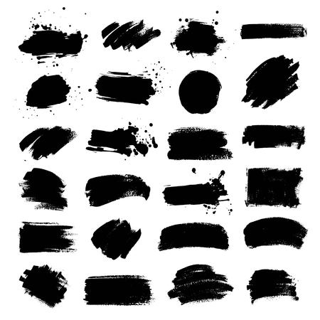 Set of black paint, ink brush strokes, brushes, lines, circle.