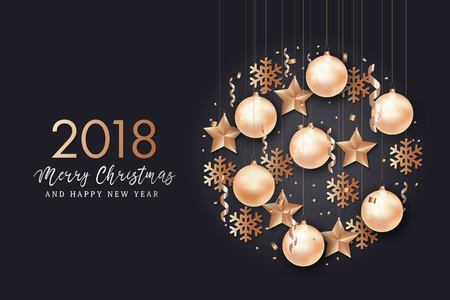 Happy New Year and Merry Christmas background. Vettoriali