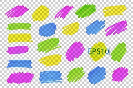 Kleur markeer strepen, lijnen, markeringen. Stock Illustratie
