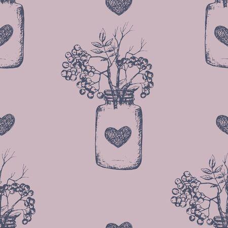 Rovan berries seamless pattern, hand drawn sketch.