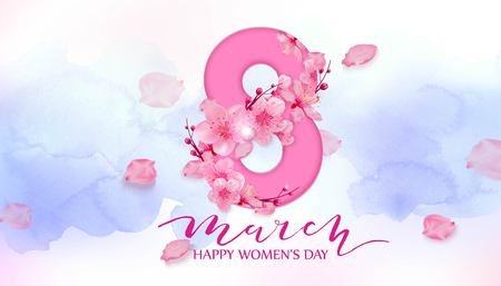 Happy womens day. 8 March with cherry blossoms