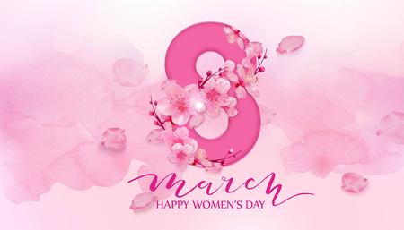 Happy women's day. 8 March with cherry blossoms