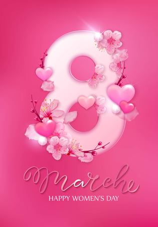 Happy women s day. 8 March with cherry blossoms