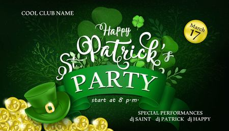 Happy Saint Patrick's Day Party flyer with shamrock, coins, leaves and hat on dark background. Vector Illustration.