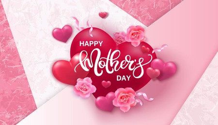 Happy Mothers day background with hearts