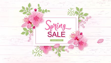 Spring Sale Vector Illustration. Banner With Cherry Blossoms. Çizim