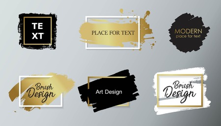 A Vector black paint, ink brush stroke, brush, line or texture. Dirty artistic design element, box, frame or background for text.
