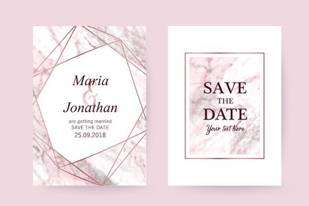 Wedding card. Pink Marble and gold texture background. Elegant stylish design Vettoriali