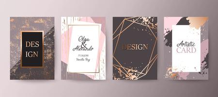 Goud, roze brochure, flyer, uitnodiging, kaart Vector Illustratie