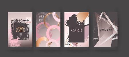 Oro, folleto rosa, volante, invitación, tarjeta Ilustración de vector