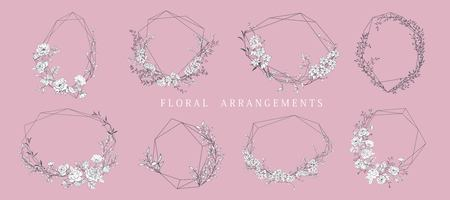 Floral bouquet design. Wedding arrangement. Botanical frame. Hand drawn flowers. Vector Illustration