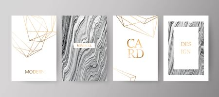 Set of modern elegant brochure, card, background, cover.Grey, black marble texture. Golden geometric frame Illustration