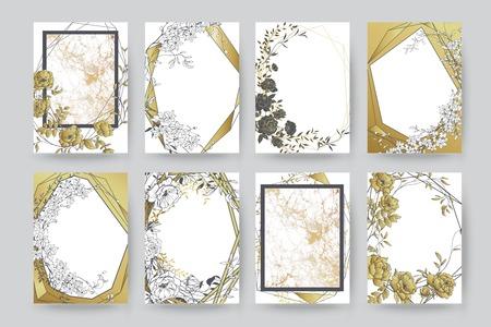Floral frame design. Wedding invitation arrangement. Botanical composition. Hand drawn flowers. Composition for card, invitation, save the date.