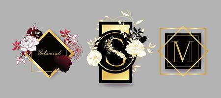 Frames for wedding invitation. Logo template. Monogram design. Black, red and golden flowers.