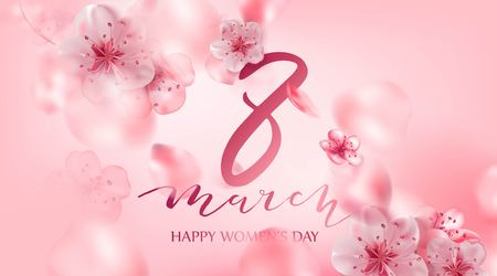 8 march vector illustration with cherry blossom flowers, flying petals. Pink sakura.