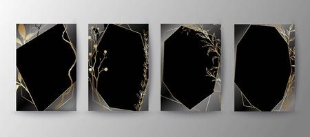 Set of elegant brochure, card, background, cover, wedding invitation. Black and golden marble texture. Geometric frame. Hand sketched botanicals. Illustration