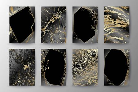 Set of elegant brochure, card, background, cover, wedding invitation. Black and golden marble texture. Geometric frame. Hand sketched botanicals.  イラスト・ベクター素材